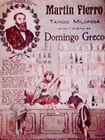 Partitura del tango milonga Martin Fierro