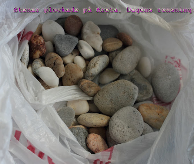Strandstenar: Dessa plockades på stranden längs med Platanias, på ön Kreta (Grekland).