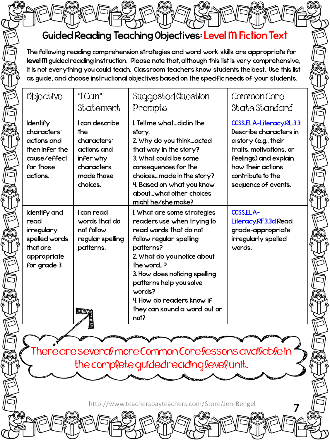 http://www.teacherspayteachers.com/Product/FreebieGuided-Reading-Lessons-and-Printable-Assessments-Grade-3-1127545