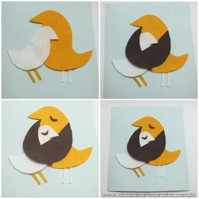 Cartões para o dia das mães de feltro com pássaros