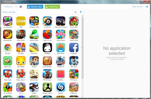 iphone apps are displayed on windows pc program window