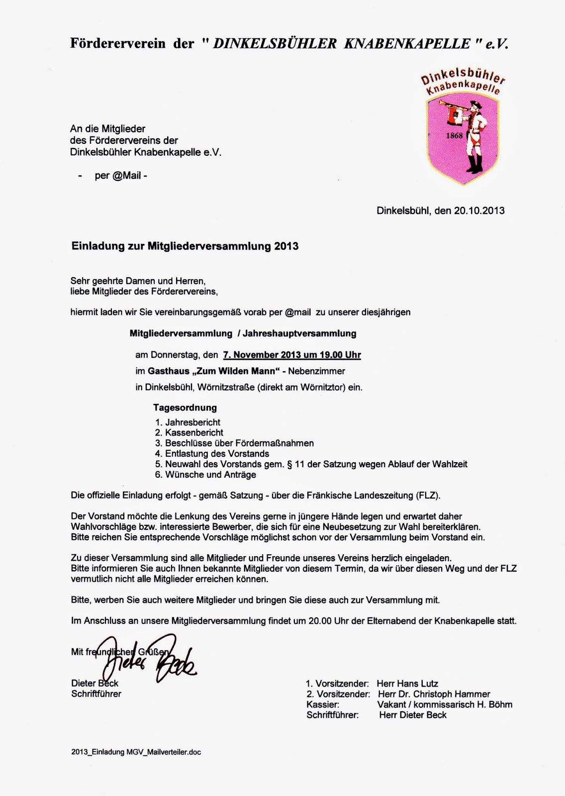2013, Einladung