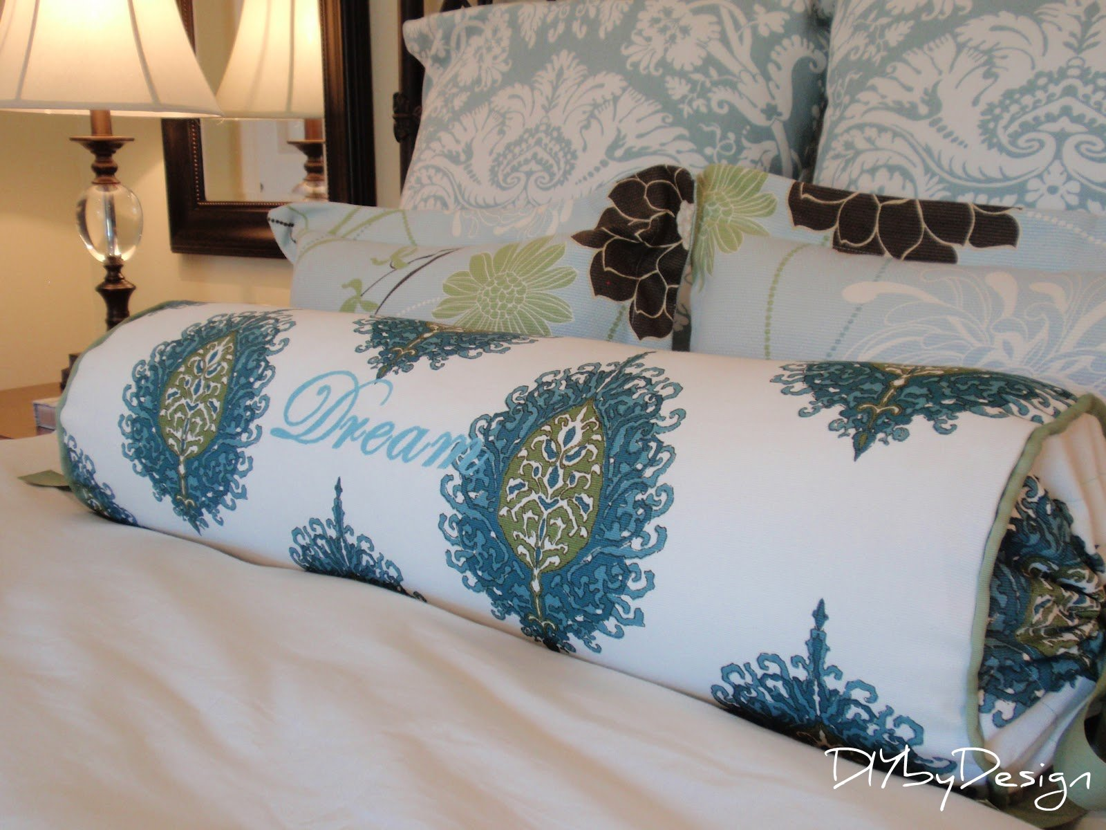 Diy by design embroidered bolster pillow