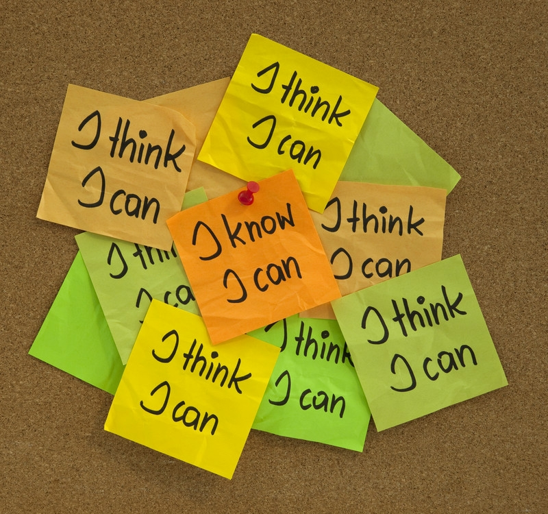 self-motivation I know I can and I think I can post-it notes