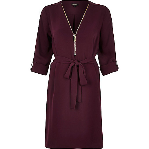 burgundy zip dress, river island burgundy dress, burgundy shirt dress,