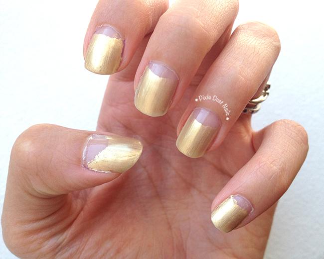 Gold Half Moon Nails