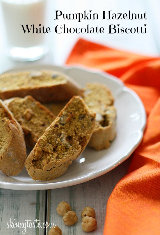 Pumpkin Hazelnut White Chocolate Biscotti | Skinnytaste