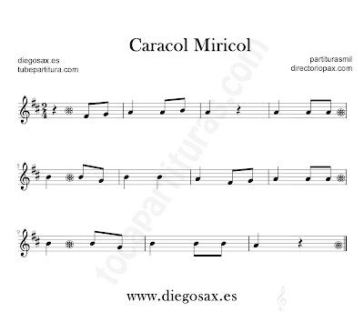 Caracol Miricol partitura para flauta, violín, saxofón alto, trompeta, clarinete, soprano sax, tenor, oboe, corno inglés, trompa, fliscorno... en Fa mayor en Clave de Sol