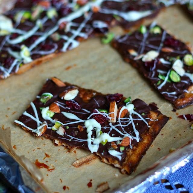 Dark Chocolate-Toffee Matzah Bark with Pistachios, Almonds, and ...
