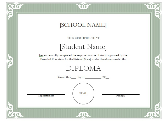 High school diploma certificate design template 2015 for High school certificate template