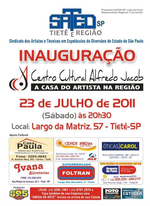 CENTRO CULTURAL ALFREDO JACOB - SATED-SP - TIETÊ E REGIÃO