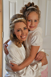 Bride and flowergirl before the big event