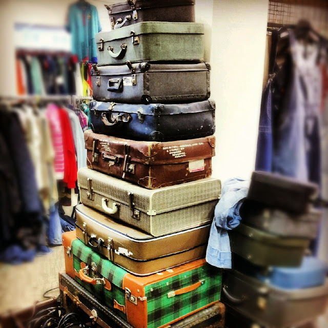 Tower of old suitcases