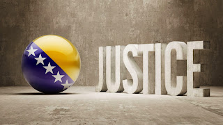 A ball with the BiH flag and the word Justice.