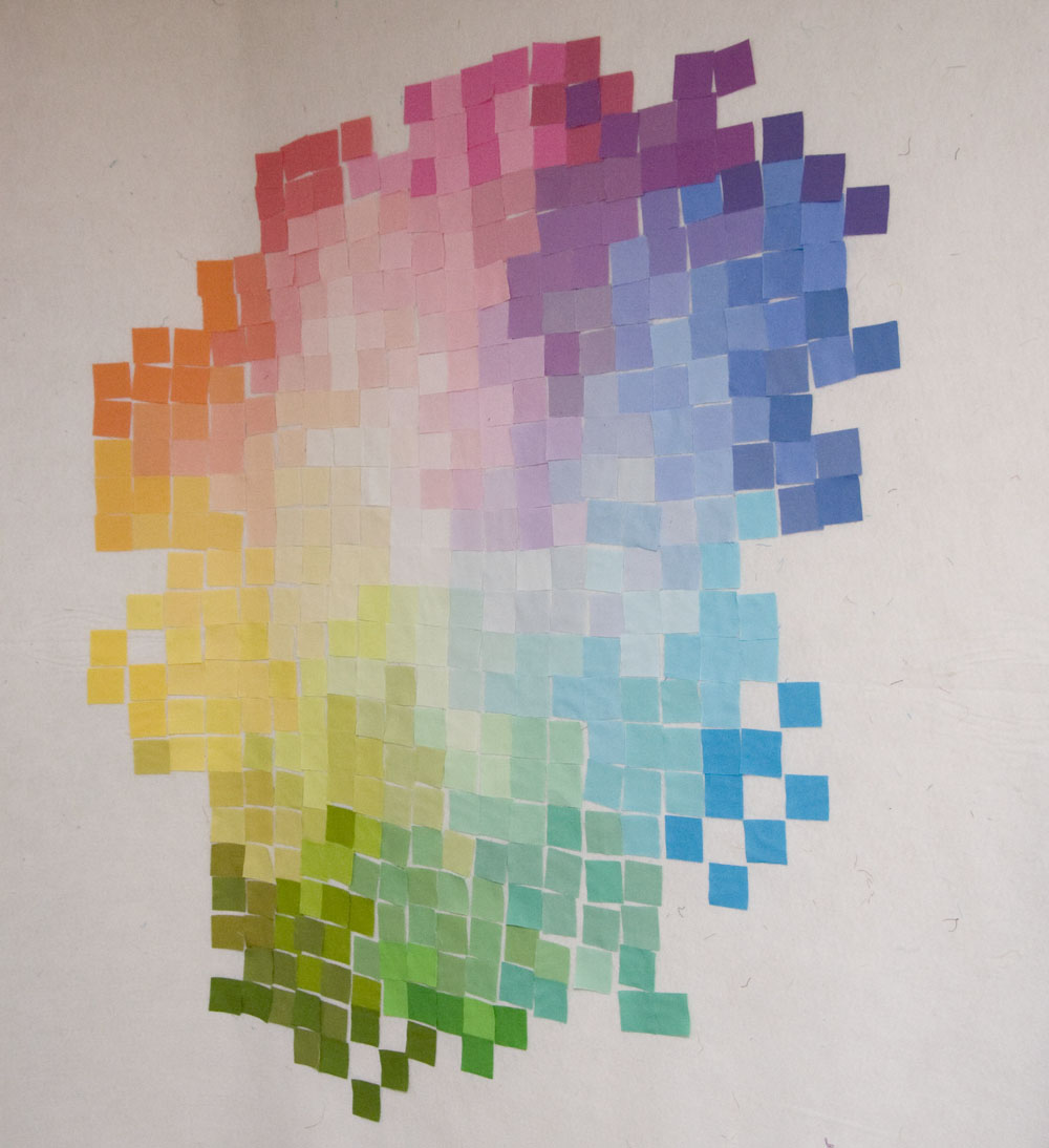 From The Blue Chair Pixelated Color Wheel Quilt Design Process