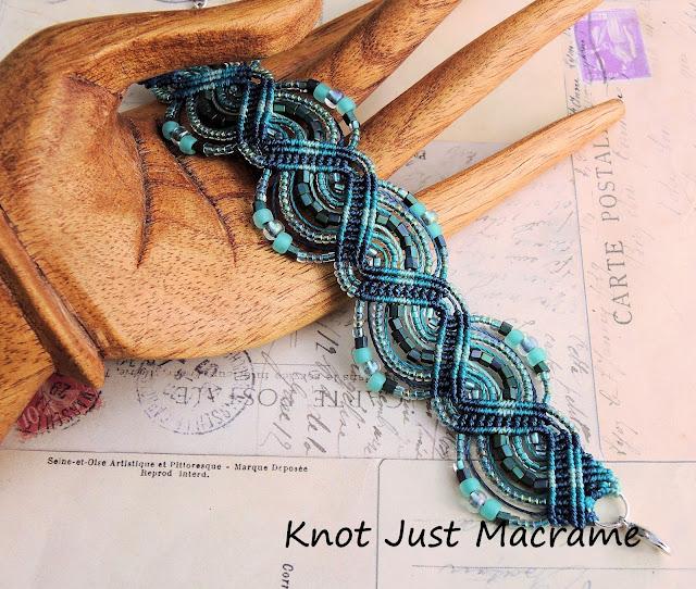 Micro Macrame Bracelet in teal by Sherri Stokey