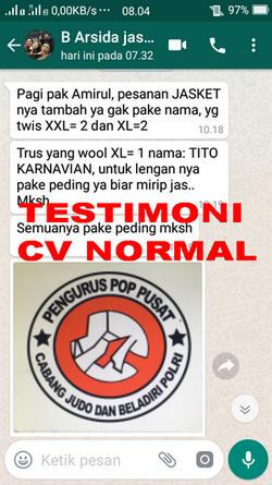 TESTIMONI PEMBELI JASKET CV NORMAL