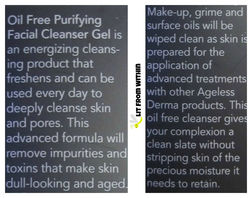 Ageless Derma Oil Free Purifying Natural Facial Cleanser Ge