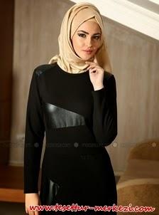 Tuva Deri Garni Detaylı Siyah Tesettür Elbise