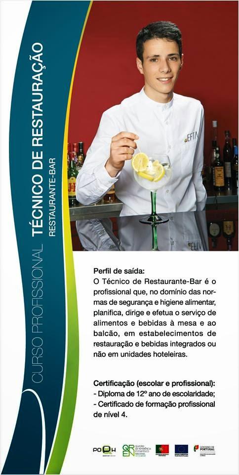 Curso profissional de restaurante / bar em Aveiro (equivalência ao 12º ano)