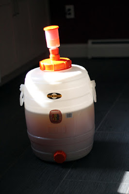 Wort in one of the two fermentors, waiting for yeast.