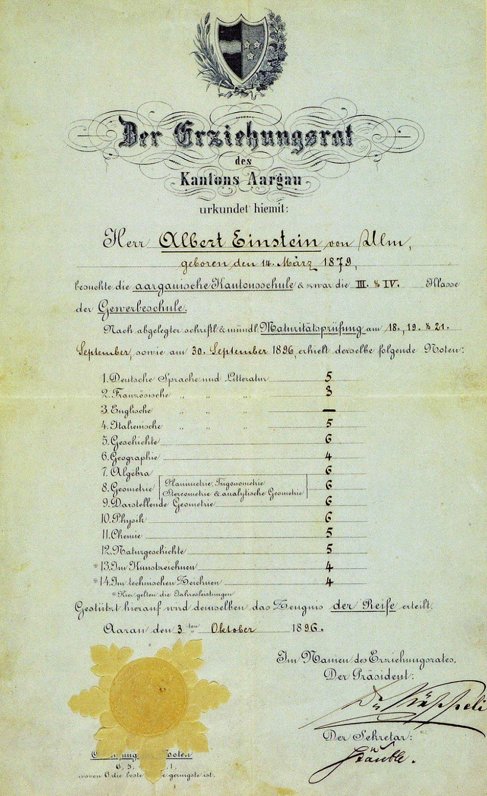 Albert Einstein's matriculation certificate, aged 17, 1896. It's a myth that Einstein was bad at math.