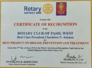 Rotary International D3800 Award