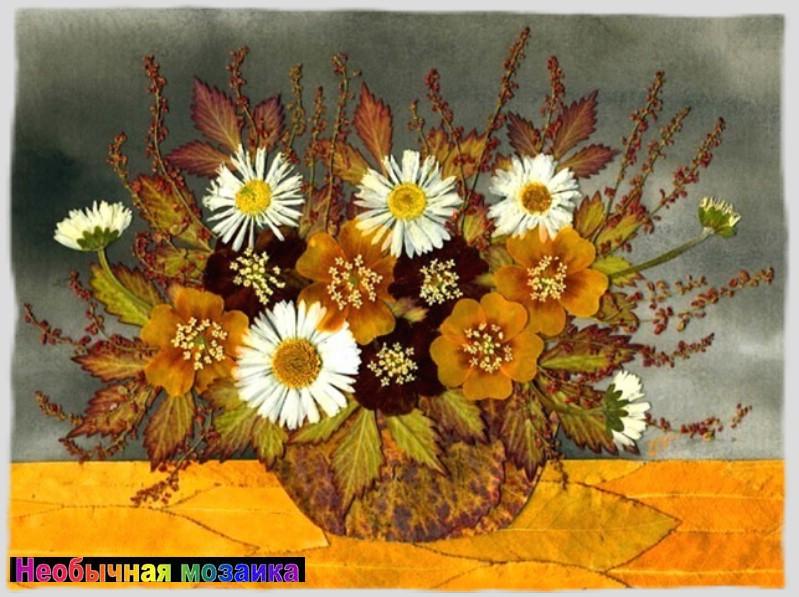 Панно цветы и листья