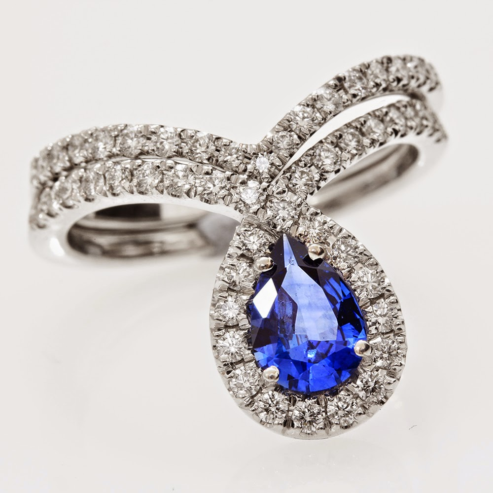 Bliss Engagement Ring Set With Clear All Natural Pear Shaped Blue Sapphire  With A Matching Wedding Diamond Band