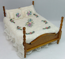 Silk Ribbon Embroidered Bed