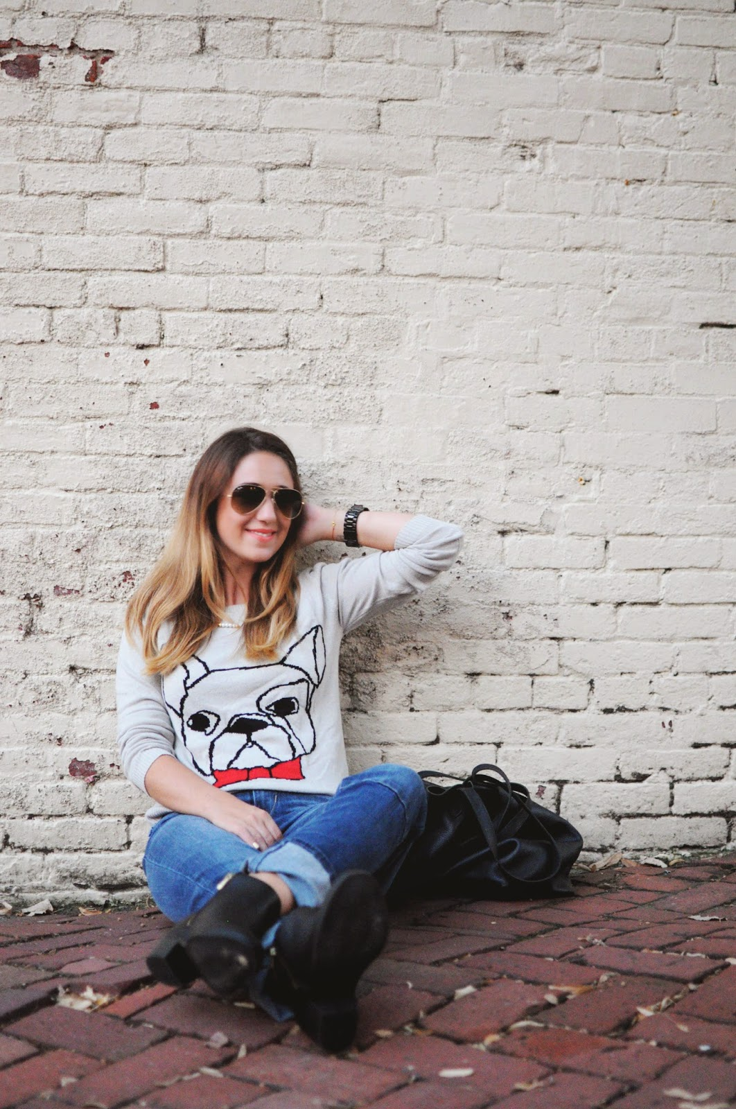back to school fashion, sears fashion, levis jeans, black booties, graphic sweater, pug sweater