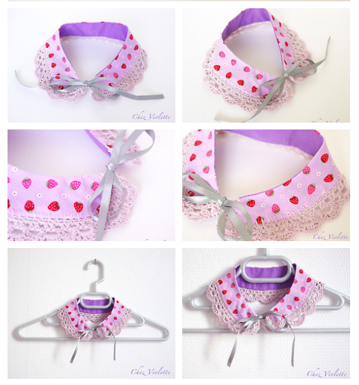 Peter pan collar necklace, crocheted lace