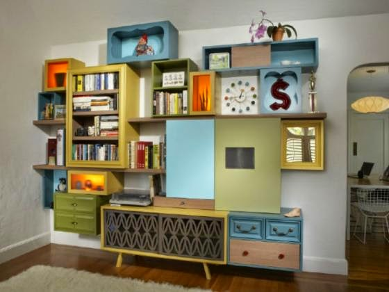 renovating old furniture. Colourful Shelves Diy Renovating Old Furniture
