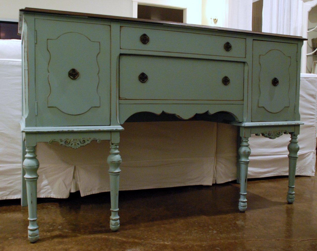 Hand Painted Antique Buffet 475 on fleur de lis home furniture