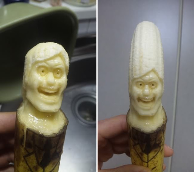 awesome art, amazing art, banana carving art, scary banana carving, sculptures carved from bananas