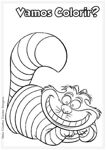 Alice no país das maravilhas Gato Risonho desenho para colorir