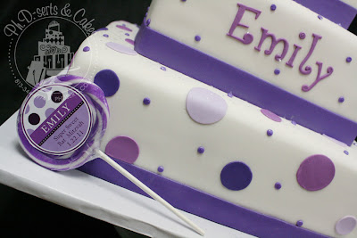 purple bat mitzvah square cake fondant