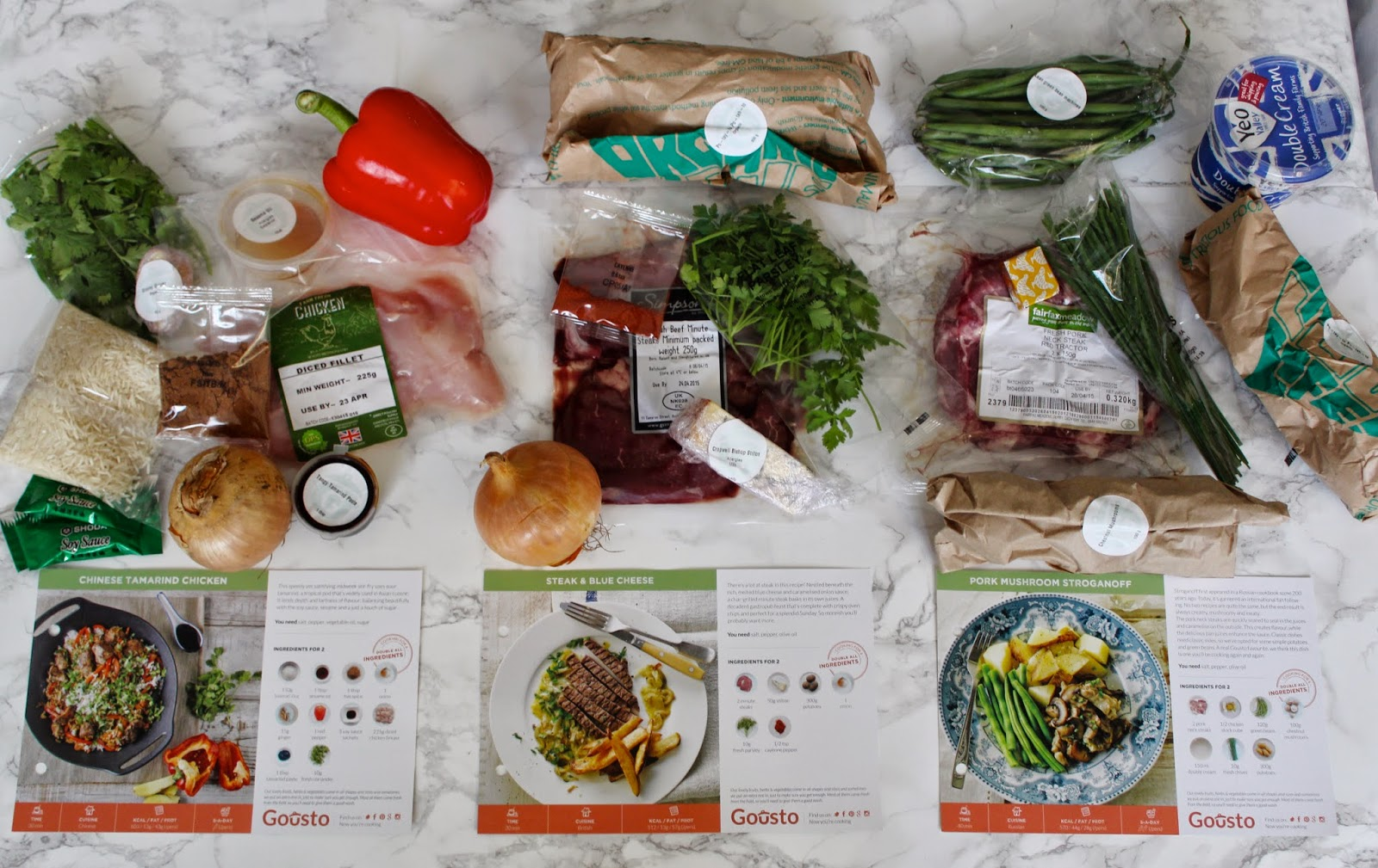 Gousto recipe box review and get 20 off your first delivery with my inside the box i found tonnes of ingredients all packaged up and measured out ready for me to get cooking and the recipe cards which clearly show you forumfinder Image collections