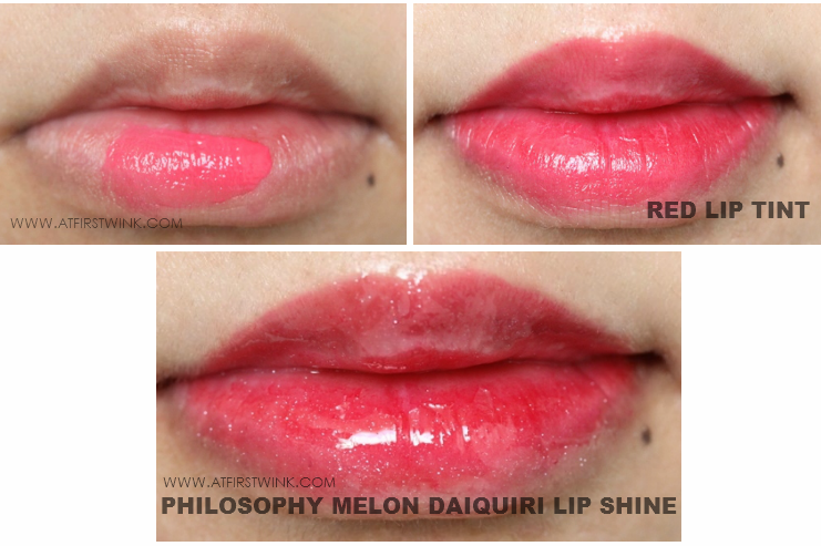 philosophy melon daiquiri lip shine over red lip tint