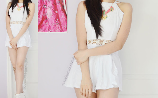 More photos of the white Fanewant crochet-cutout romper, modeled with a Bezel Box necklace.