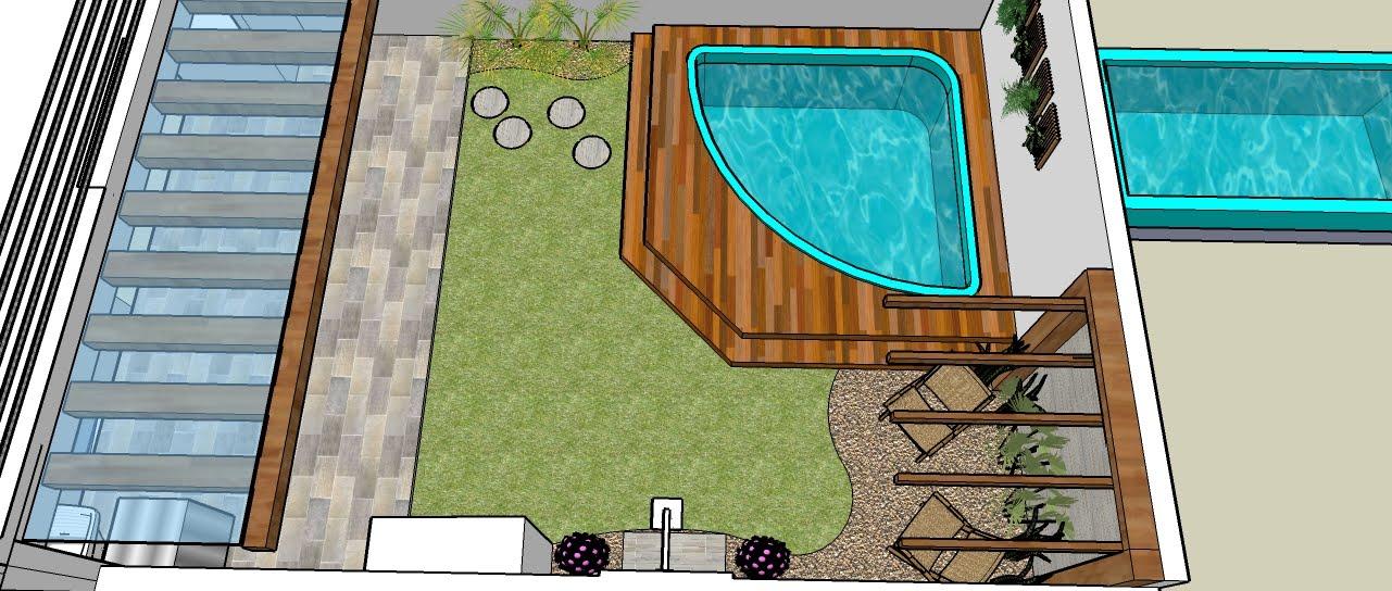 deck em jardim pequeno:Shana Oliveira Arquitetura: PAISAGISMO