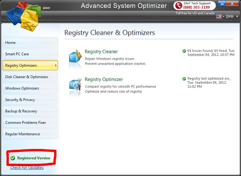 Advanced registry optimizer 5.3