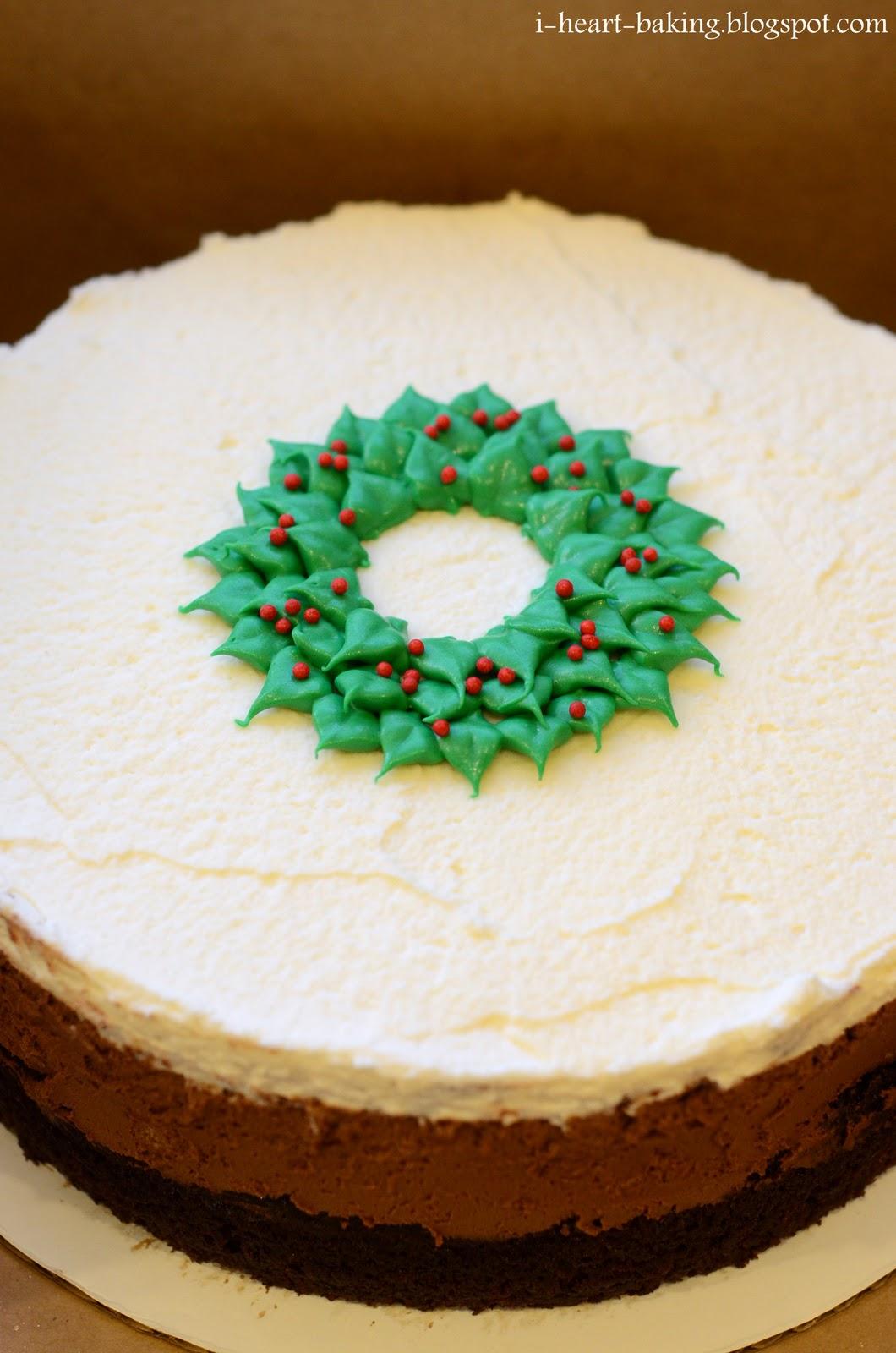 I heart baking christmas wreath triple chocolate mousse cake for Baking oranges for christmas decoration