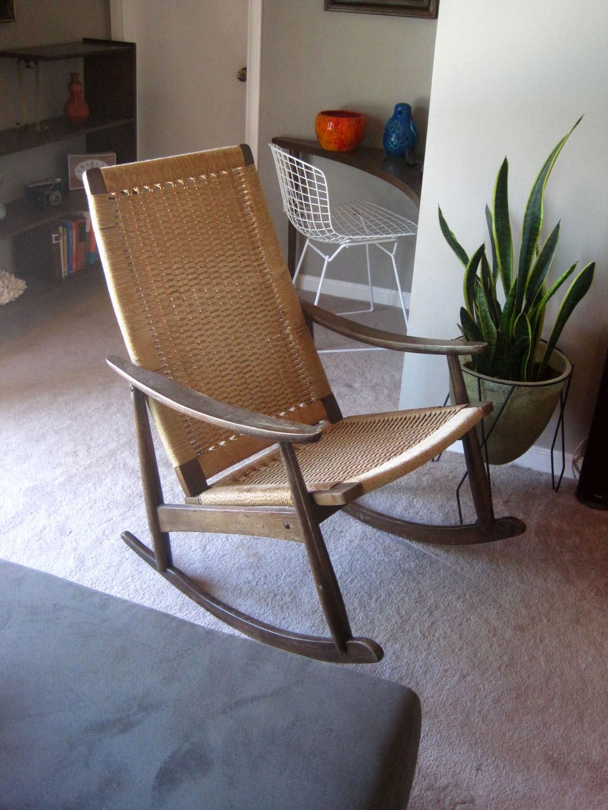 Exceptional Danish Modern Rope Rocking Chair