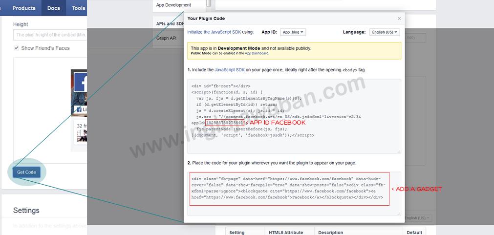 Kolom Get Code Page Like Facebook v2.3 Pada Blog