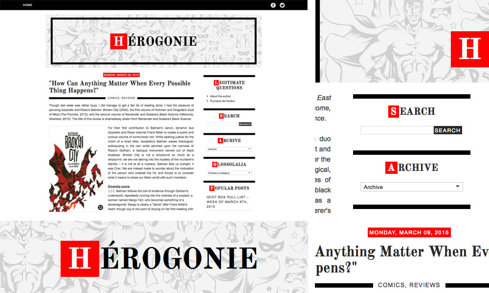 herogonie blog template design superhero comics