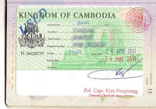 Tourist visa for Cambodia