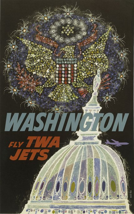 classic posters, free download, graphic design, retro prints, travel, travel posters, vintage, vintage posters, Washington, Fly TWA Jets - Vintage Travel Poster