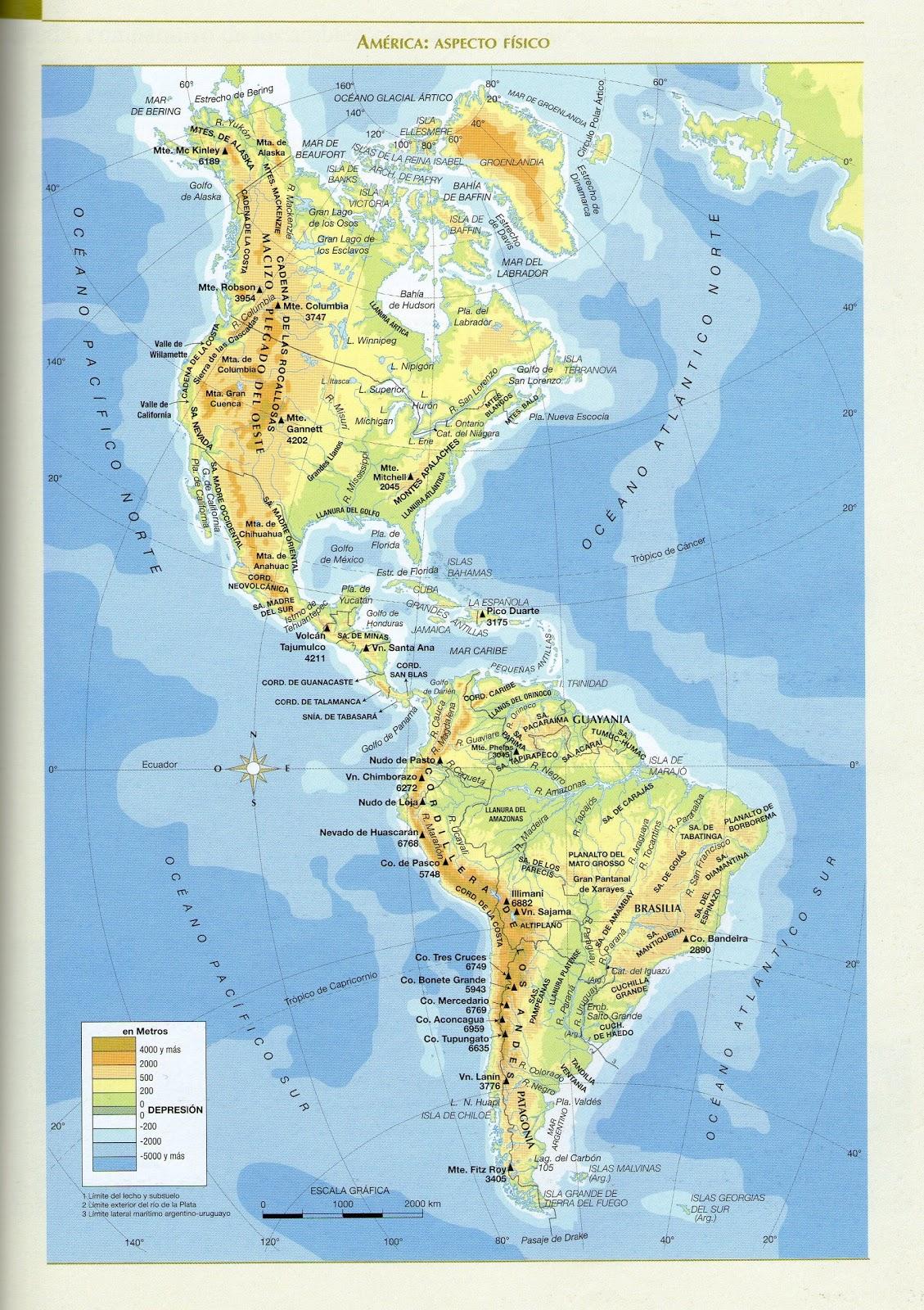 Mapa con la hidrografia de america