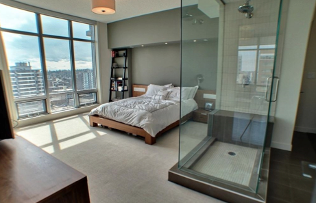 Check Out This High Rise Condo Pictured Left Decorated With A True Love Of Minimalist Design Walls Are Neutral The Small Space Features Glass Shower